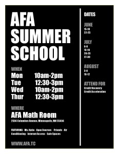 AFA Summer School Schedule 2015